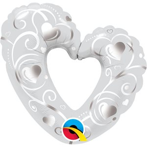M.14'' HEARTS& FILIGREE SILVER
