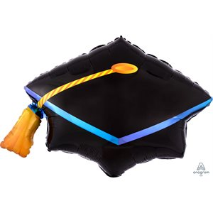 22''M.BLACK GRADUATION CAP H / S